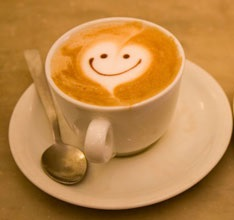 happy cappuccino smiling