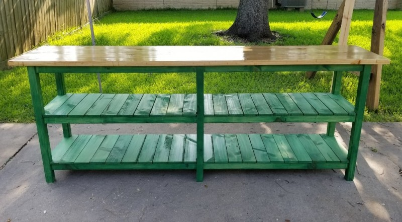 Rustic Green Sofa Table